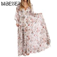 NIBESSER Women Bohemia V-neck long Sleeve Floral Print Ethnic Beach Boho Long Dress Retro Hippie Vestidos Boho Dress