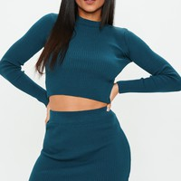 Missguided - Blue Knitted Ribbed Top & Skirt