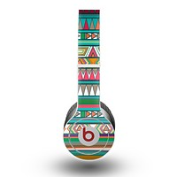 The Tribal Vector Green & Pink Abstract Pattern V3 Skin for the Beats by Dre Original Solo-Solo HD Headphones