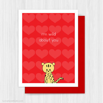 Cute Valentine Card Romantic Valentines Day Love Pun For Boyfriend Girlfriend Husband Wife Fun Funny Handmade Greeting Cards Wild About You