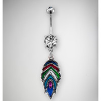 14 Gauge Multicolor Feather Banana Belly Button Ring