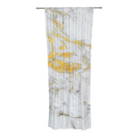 "KESS Original ""Gold Flake"" Marble Metal Decorative Sheer Curtain"