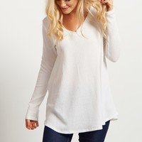 Ivory-Solid-V-Neck-Knit-Thermal-Top