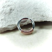Septum Ring Silver with Pink Gold Wrap