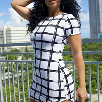 Plaid Short Sleeves Micro Mini Dress