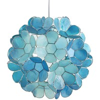 Petal Ball Aqua Teal Capiz Pendant Light