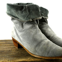 vintage blue grey suede & corduroy fold-over slouch booties // size: 6.5 - 7