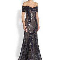 Sequin Lace Off-The-Shoulder Gown