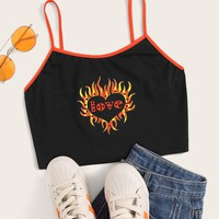 Letter & Heart Print Cami Top