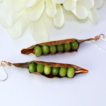Peas in a Pod Earrings, Faceted Lime Green Peridot Peas, Sterling Hooks, Flamed Patina Copper Pods, Long Dangles, Elegant