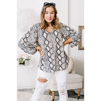 Here For You Sheer Snake Printed Top