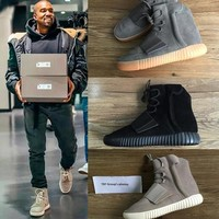 TOP 750 Boost Glow In The Dark Kanye West Leather Ankle Boots Men's Sport Running Shoes