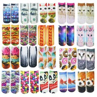 1pcs custom fashion design cute 3D printed socks new unisex  low cut ankle socks multi color casual cartoon animal shape socks