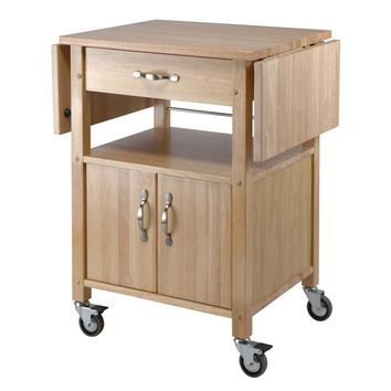 Kitchen Cart, Double Drop Leaf, Cabinet with Shelf