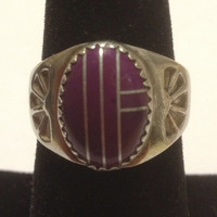 Navajo Sugilite Sterling Ring Augustine Largo AL Size 8 Silver 925 Purple Inlay Stones Vintage Native American Tribal Southwestern Jewelry