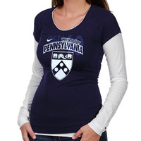 Nike Pennsylvania Quakers Ladies Sunny Day Cross Campus Long Sleeve T-Shirt - Navy Blue