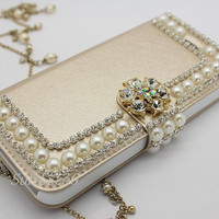Luxury Bling Pearl Rhinestone Leather Wallet Flip Cell Phone Case with Stand For iPhone 5 5S, Samsung Galaxy S4, S5, Note3, iPhone 6 & Plus
