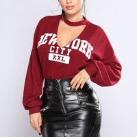 New York Gal Top - Burgundy