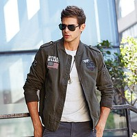 Men's Cotton Embroidery Zipper Cardigan Jacket Coat