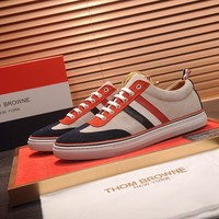 Tb Thom Browne Men's Leather Fashion Low Top Sneakers Shoes