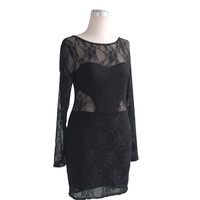 New Bodycon Flower Lace Dress Floral Vestidos o-neck Sexy Short Women Backless Dress Clothing Black Red  SN9