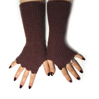 Chocolate brown fingerless mittens in soft acrylic, texting gloves, seamless handknit soft armwarmers, choose your color