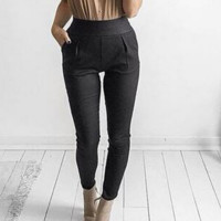 Fashion Pure color show thin leisure pants black