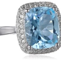 Sterling Silver 6.8, Cttw Blue Topaz and Created White Sapphire Ring, Size 6