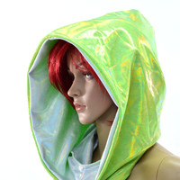 Green & White Holographic Reversable Cowl Hood