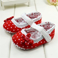 2017 New Baby Girls Shoes With Flower Princess Dots Design Toddler Girl First Walkers Shoes