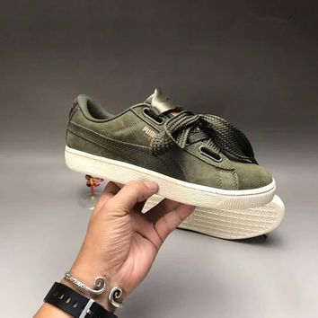 """Puma"" Women Casual Fashion Bow Ribbon Suede Plate Shoes Sneakers"