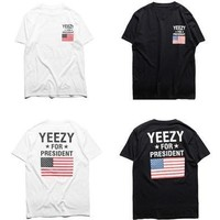 Women's Fashion and Men's Fashion Yeezy for President Print Short Sleeve T-shirt  [8833673804]