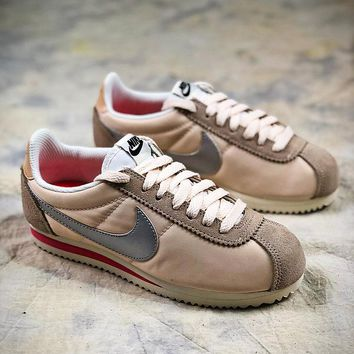 Nike Classic Cortez Gold Silver Sport Running Shoes - Best Online Sale