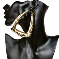 Exaggerated Big Triangle Hoop Earrings for Womens Retro Punk Bamboo Basketball Gold Earrings Fashion Jewelry