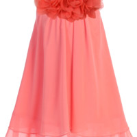 Girls Coral Chiffon Shift Dress with Flower Trim 2T-14