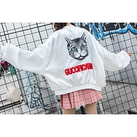Gucci Popular Women Casual Thin Silks And Satins Surface Sequins Letter Cat Print Long Sleeve Zipper Coat Jacket Baseball Uniform White