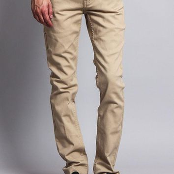 Men's Skinny Fit Colored Jeans (Khaki)