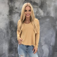 Nakita Basic Long Sleeve Top in Mustard