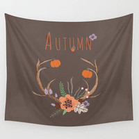 Autumn Tapestry Brown Antlers Fall  Phrase Word SayingFlowers Pumpkins Acorns  Wall Tapestry Home Dorm Room Office Wall Decor
