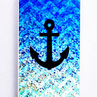Chevron Anchor On Glitter for Iphone 5C Hard Cover Plastic