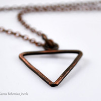 Water Alchemy Element Necklace. Mens Copper Pendant Necklace. Custom made Mens Necklace. Air, Fire, Water, Earth symbol. Unisex necklace.