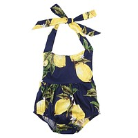 born Infant Baby Girls Pear Floral Sleeveless Romper Cute Jumpsuit Outfit Clothing Sun suit Baby Girl