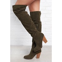 Kaylin Thigh High Boots (Olive)