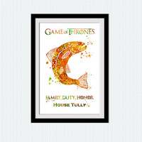 Game of Thrones decor House Tully watercolor poster Game of Thrones art print Kids room wall art Home decoration Nursery room decor W613