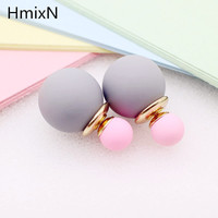korea Scrub Dull Double Faced simulated Pearl ball Stud Earring Beads Double Side Earring Two Ways Party Date Jewelry For Women