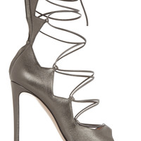 Gianvito Rossi - Metallic leather lace-up sandals