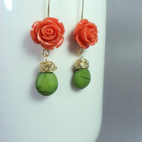 Flower and leaf long dangle earrings with wire wrapped turquenite/ orange flower and green howlite