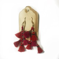 Raindrops Earrings - Red