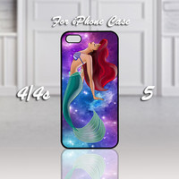 Ariel The Little Mermaid on Nebula, Design For iPhone 4/4s Case or iPhone 5 Case - Black or White (Option)