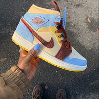 NIKE AIR JORDAN 1 MID AJ 1 high-top colorblock sneakers Shoes